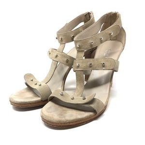 GUCCI taupe suede strappy sandals